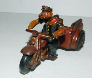 NEAT VINTAGE CAST IRON HUBLEY KING FEATURES  POPEYE SPINACH DELIVERY MOTORCYCLE