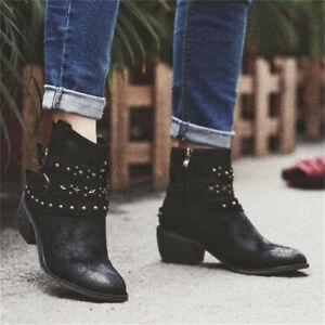 New Womens Ladies Buckle Ankle Boots Block Heel Side Zipper  Casual Shoe