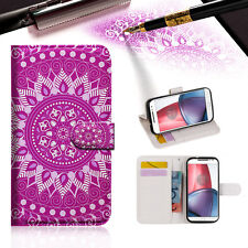 Purple AZTEC TRIBAL Wallet TPU Case Cover For Motorola Moto X Force- A003