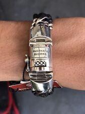 Buddha To Buddha 925 Sterling Silver Leather Designer Bracelet Sz 8.3 NWT