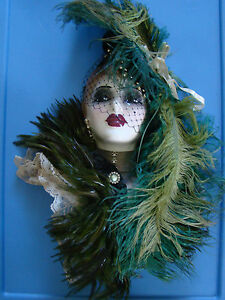 Unique Creations LTD Edition Ornate Porcelain Mask Woman Green Feathers 121627