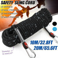 12mm 10M/20M Rescue Rope Tree Rock Climbing Rappelling Safety Cord W/Carabiners
