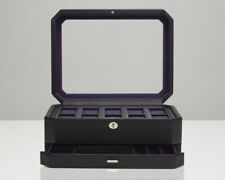WOLF Windsor 10 Piece Watch Box With Valet Drawer Glass Lid Black/Purple 458603