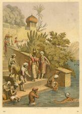 Benares, Varanasi, Indien, Bad im Ganges, Original-Farblithographie von 1867