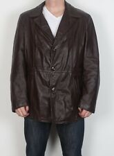 "Leather Jacket UK 44"" Large XL 1970's Fitted Red Brown 70's Vintage (64K)"