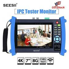 "4K 7"" IPC CCTV Camera Monitor Tester CVBS Test IP Discovery 8GB PTZ Control POE"