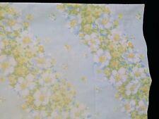 PEQUOT Vtg No-Iron MUSLIN Blue Yellow White Floral FULL Flat Sheet 2 PILLOWCASE