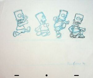 The Simpsons Production Animation Hand Drawn SIGNED NORMAN QUEBEDEAU Pencil