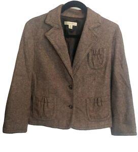 Banana Republic Women's Stretch Wool Blend Brown 2 Button Blazer Jacket Size 12