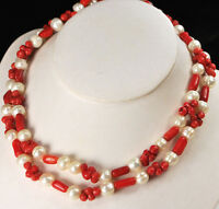 """Women Jewelry Natural Pearl & Red Coral Beads Long Statement Necklace 48"""""""