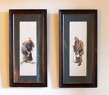 Pair Framed Japanese Watercolours C1850 65cm tall. Signed S Hodo.