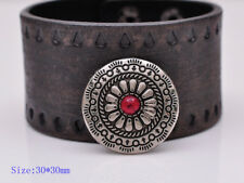 10pcs 30MM Silver Navajo Flower Leathercraft DIY Belt Shoes Conchos Red Bead
