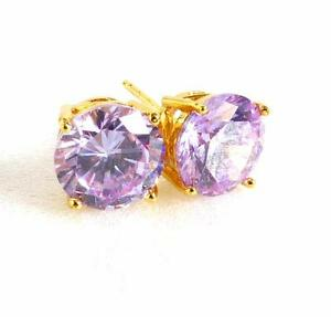 Women 8mm Medium Lilac CZ Cubic Zirconia Stud Earrings 24K Yellow Gold Plated UK
