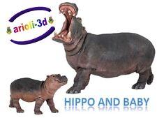 HIPPOPOTAMUS ADULT AND BABY CALF - PAPO - HIPPOPOTAME WILD ANIMAL HIPPO FIGURINE
