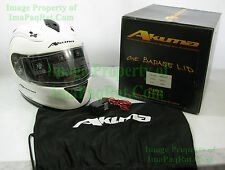 BRAND NEW AKUMA FROST Motorcycle Helmet 2X-Large with LED Lights XXL White