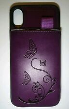 Waterfox Vintage Iphone 8x Lesther Wallet Case Purple Butterflies