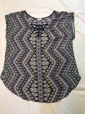 Free 2 Luv Women's Blue Geometric Short Sleeve Top Blouse Shirt - Plus Size 1X