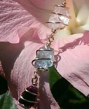 "SUGILITE, AQUAMARINE, KUNZITE ""Angel Kiss"" 18 KT GOLD Synergy Necklace Pendant!"