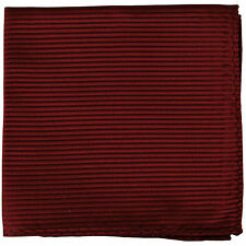 New polyester woven thin striped pocket square hankie handkerchief burgundy
