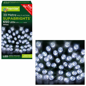 Premier 650 Multi-Action Supabrights LED Lights on Green Cable - White