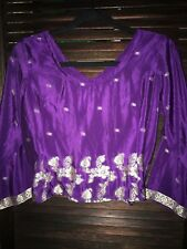 Indian sari silk crop jacket.1 fit.Fit approx 8-12. With gold thread embroidery
