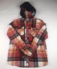 DC Shoes Mens Sz Medium M Flannel Plaid Button Up Shirt Long Sleeve Hoodie