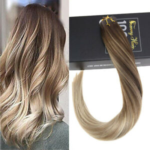 Sunny 20pcs Tape in Human Hair Extensions Remy Quality Balayage 4/14/60# 50gr