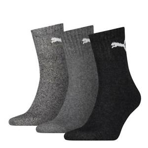 Socken Strümpfe grau Unisex Erwachsene Kinder Short Crew Socken 3er Pack Puma