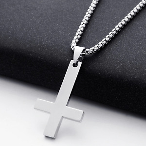 Unisex Inverted Cross of St Peter Pendant Necklace  - Gothic/Heavy Metal