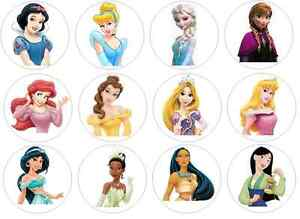 12 Disney Princess Edible Wafer Paper Cupcake Toppers