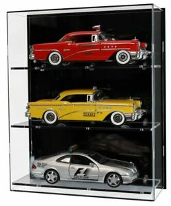 Vitrine murale en acrylique pour trois voitures miniatures à l'échelle 1:18