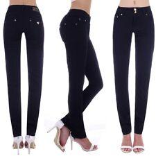 Damen Jeans Röhrenjeans Röhre Skinny Hose Übergrößen Schwarz Stretch normale S40