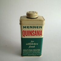 "Vintage Tin Can Mennen Quinsana for Athletes Feet Advertisement 5"" X 2"" X 1"""
