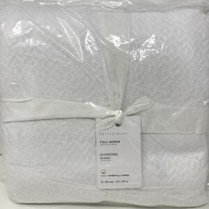 New~Pottery Barn Diamond Organic Cotton Blanket~Full Queen~White
