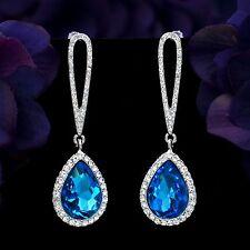 Rhodium Plated Blue Crystal Rhinestone L. R. Teardrop Chandelier Dangle Earrings