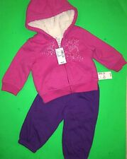 NEW Baby Girls 2 Pc Outfit Set Zip Sherpa Sweater Shirt Pants 9-12 Months $42.90