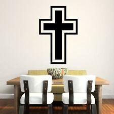 Black CHRISTIAN Cross Art home decor vinyl Wall sticker Wallpaper wall decals