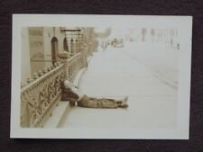 DRUNK PASSED OUT ON NEW YORK CITY SIDEWALK IN FRONT OF POOL HALL Vtg 1939 PHOTO