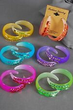 "Bulk Lot 12 Pairs Earrings Acrylic Candy Loop W Stones 1.75"" Assorted Colors"