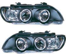BMW X5 (1998-2003) Black Halo Angel Eye Projector Front Headlights Lights - Pair