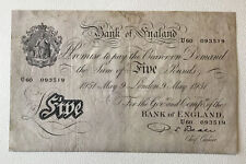 More details for bank of england banknote. five pounds / white fiver. beale. dated 1951.