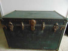 Vtg STORAGE TRUNK train luggage flat top antique steamer with wood & brass