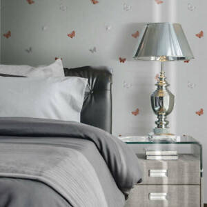 Muriva 701420 Amelia Butterfly Stone & Rose Gold Floral Wallpaper - open roll