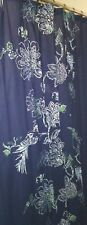 Blue Floral Fabric Shower Curtain.
