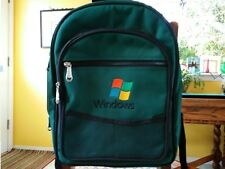 Microsoft Back Pack vtg Windows Travel Bag Green RARE conference luggage RARE MS