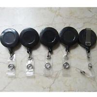 5 ID Card Holder Lanyard Retractable Badge Clip Reel BL