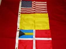 BAHAMA US YELLOW QUARANTINE 3 FLAG SET 12 x 18 DYED NYLON  SEACHOICE