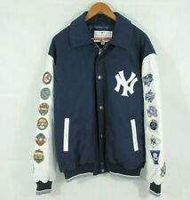 NY Yankees Jacket Wool & Leather 26 X World Series Patch Work Men's Large
