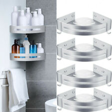 2 Tier Bathroom Corner Shower Shelf Silver Rack Organiser Bath Basket Shelf
