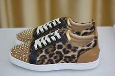 NEW CHRISTIAN LOUBOUTIN Louis Junior Spikes Flat Leo Brown Sneakers Shoe EU42,5